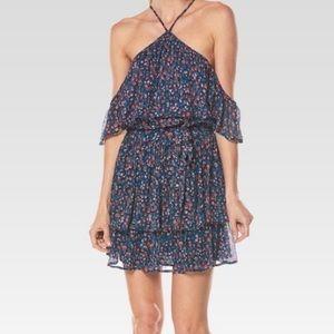 Paige Draya Silk Floral Cold-Shoulder Dress